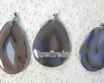 1 pcs Gunmetal Black 925 Silver Electroplated Edge Titanium Plated Natrual Agage  freedom shape Pendant
