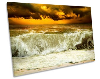 Stormy Beach Wave Sunset Orange CANVAS WALL ART Framed Picture Print