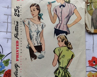 40's blouse with peplum pattern, Simplicity 2027, 34 bust.