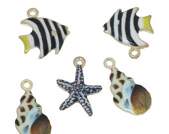 Gold Enamel Sea Creature Charms - Package of 6 charms