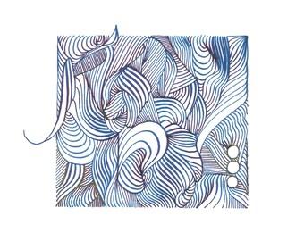 "Custom Octopus Linework Drawing - Original Art - 8.5""x5.5"" Ink Drawing in Emerald Green Iridescent Ink"
