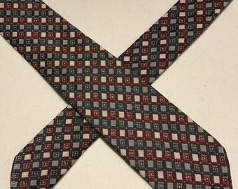 Vintage grey and claret diamond check polyester tie