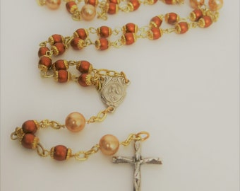 Copper pearl rosary