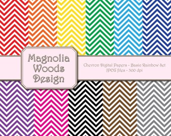 Chevron Digital Paper Pack, Basic Colors Chevron Digital Paper Pack, Rainbow Digital Paper Pack, Small Commercial Use Paper Pack