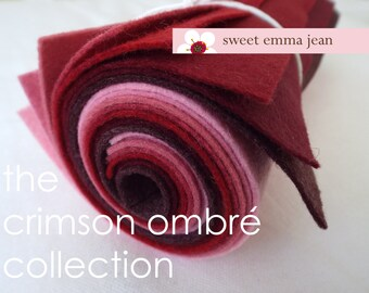 9x12 Wool Felt Sheets - The Crimson Ombre Collection - 8 Sheets of Felt