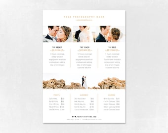 Photography Pricing Template - Price Guide List for Photographers - Wedding Photographer Photo Price Sheet - Price Guide - PG008