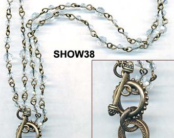 SWAROVSKI TOGGLE NECKLACE with chandelier drop vintage cast bail kit lariat