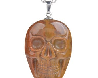 34-36mm Indian agate carved skull pendant focal bead (pendant only)