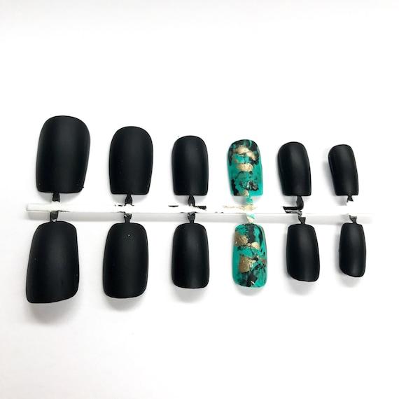 Piedra de la turquesa uñas postizas color turquesa joyería