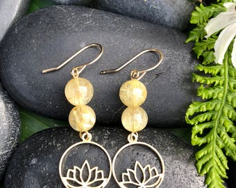 Gold Lotus Dangles with Citrine: Unfolding