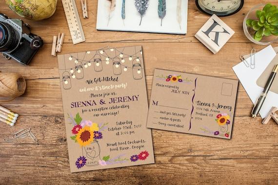Rustic Mason Jar Wildflowers Elopement or Wedding Invitation Suite