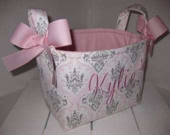 Pink Gray White Damask Fabric Basket / Organizer / Diaper Caddy / Easter Basket- Personalization Available
