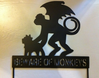 Beware of Monkeys Garden Stake Halloween Stake Beware of Monkeys