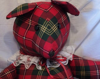 Christmas teddy bear 24 inches tall made from plaid preprinted fabric panel