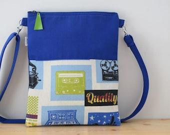 Blue tote,canvas tote bag,retro tote bag,cassette print,blue purses,crossbody bag,crossbody purse,blue fabric tote,blue purse bag,vintage