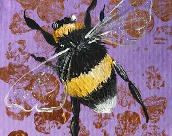 Bumble on lavendar original ACEO/ Artists trading card. Mixed media. Free UK delivery.