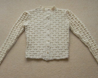 Lovely Cream Basketweave Cardigan Handknitted from 1940's Pattern in Pure Cashmere