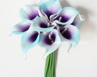 """JennysFlowerShop Latex Real Touch 15"""" Artificial Calla Lily 10 Stems Flower Bouquet for Home/ Wedding Blue/Purple"""