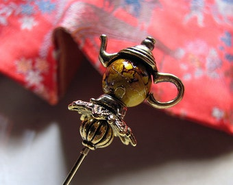 Not For All The Tea In China Victorian Teapot Hatpin