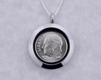 10th Anniversary Gift - 2008 Dime Coin Locket Necklace Jewelry - Anniversary Gift for Daughter - Anniversary Gift for Sister