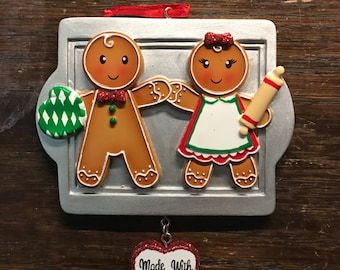 Personalized family of 2 gingerbread Christmas ornament