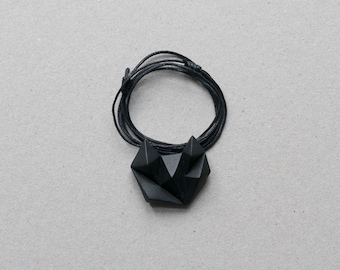 Black minimalist geometric triangle necklace. Natural Cotton chain. minimal fox cat animal shape