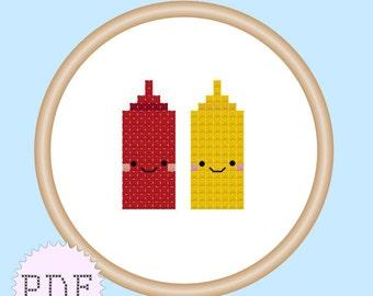 Kawaii Ketchup and Mustard Mini Cross Stitch Pattern PDF INSTANT DOWNLOAD