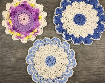 Vintage doilies, set purple and blue doilies,  shabby chic home decor, spring decor