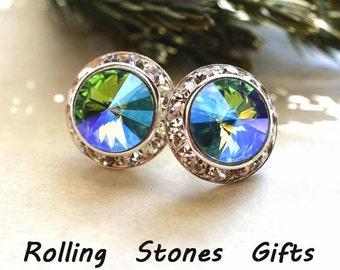 Aqua Glacier Blue Studs, Aqua Silver Earrings, Large Aqua and & Silver Studs, Large Studs, 15mm Earrings, Surrounds Earrings, 15mm Studs