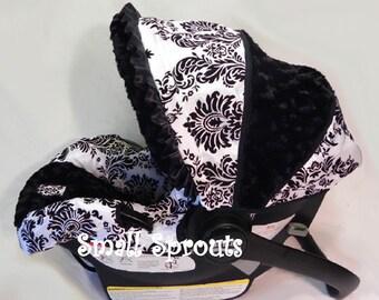 Custom Boutique London Black Rosette Minky Infant Car Seat Cover 5 piece set
