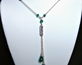 Green Onyx Drop Necklace- Silver, Wire Wrapped