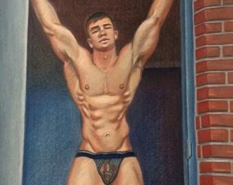 Male Figurative Art Print -8x10 Wall Art. Digital Art from original color pencil