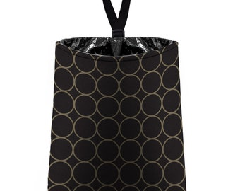 Car Trash Bag // Auto Trash Bag // Car Accessories // Car Litter Bag // Car Garbage Bag - Rings (black and taupe) // Car Organizer