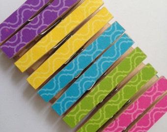 10 Lattice Clothespins. Paper Clip. Chip Clip. Peg. Pin. Gift Wrap. Trellis. Office. Home.