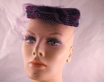 Vintage Miss Sally Victor New York Navy Blue & Purple Ladies' Pillbox Hat with Netted Veil
