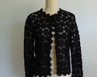 60s black lace crocheted CARDIGAN sweater Made in China size small
