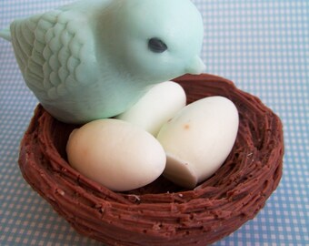Blue Bird Soap Nest Set - Bird Soap, Chocolate Scented, Egg Soap, Baby Shower, Bridal Shower, Bluebird Soap, Animal Soap, Nest Soap, Soap