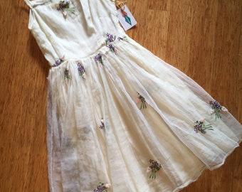 1950's White Chiffon Dress