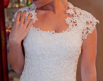 Yvonne- Alencon lace Sheath Wedding Dress with Bolero Wrap-OOAK-CRBoggs Original One of a Kind