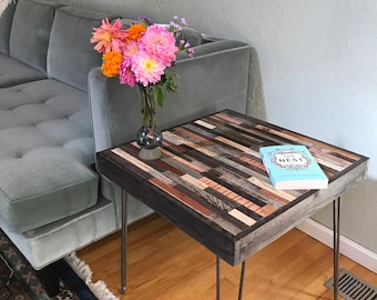 Unique reclaimed wood side table with hairpin legs