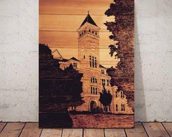 Clemson University Tillman Hall Wood-Burnt Sign