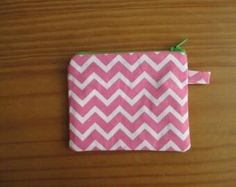Pink chevron pouch
