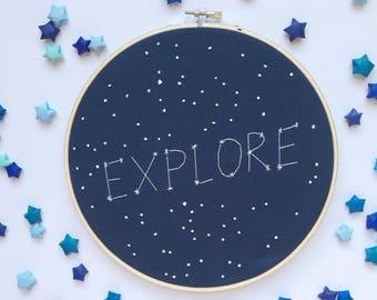 Explore constellation embroidery hoop - galaxy nursery - constellation hoop