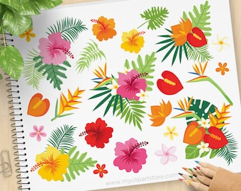 Tropical Plants Clipart, Flamingo, plumeria, palm leaves, ferns, Bird of paradise, flowers, Commercial use, Vector Clip Art, SVG Files