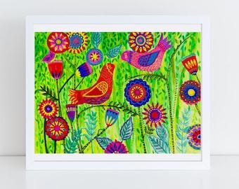 Garden Birds Folk Art Print -- 100 Thank Yous Project, Primitive, Colorful Wall Art, Vibrant Art, Poster, Floral, Happy