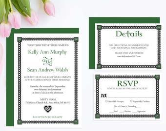Irish Wedding Invitation Set, Invitation Suite, Wedding Printable Invitation, Instant Download PDF Template #WCT-06s