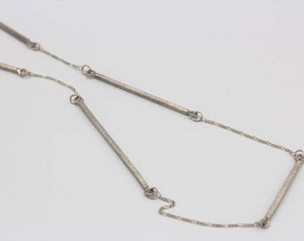 Long chain necklace with handmade silver bars and silver chain (N0091)