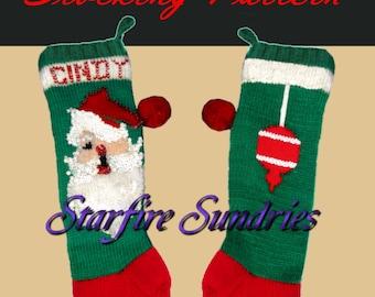 PDF Jeweled Santa Face Christmas Stocking Knitting Vintage Pattern - Bear Brand # 7592 - Large Print