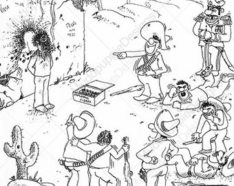 FUNNY HUMOUR Artwork (Exploding Cigar) Illustration sketch Very Funny Art Drawing quirky bandits guns crude adult black White ink lines
