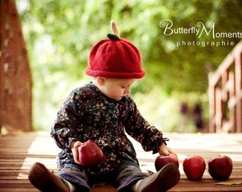 Knit Red Apple Cotton Baby Hat great photo prop